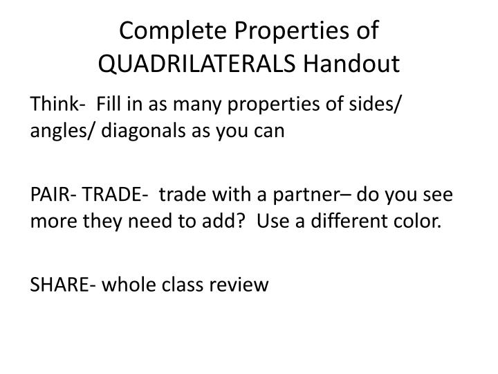 Complete properties of quadrilaterals handout