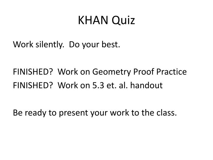 KHAN Quiz