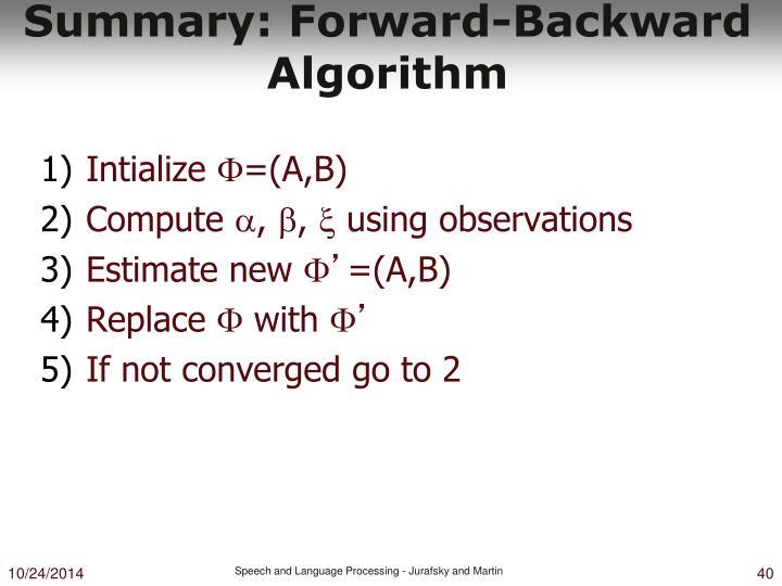 Summary: Forward-Backward Algorithm