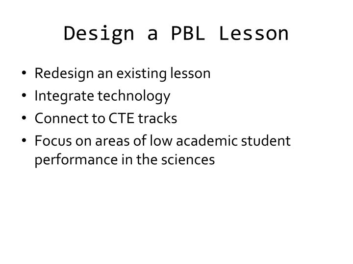 Design a PBL Lesson