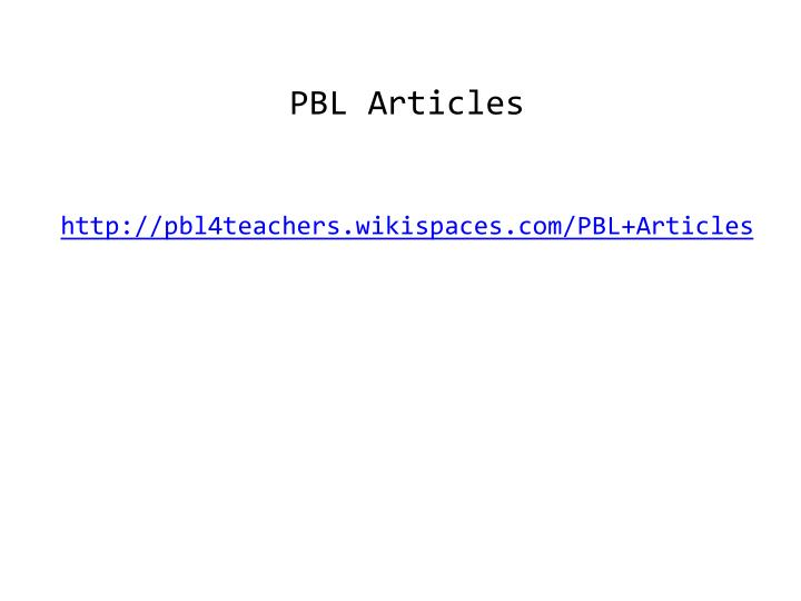 PBL Articles