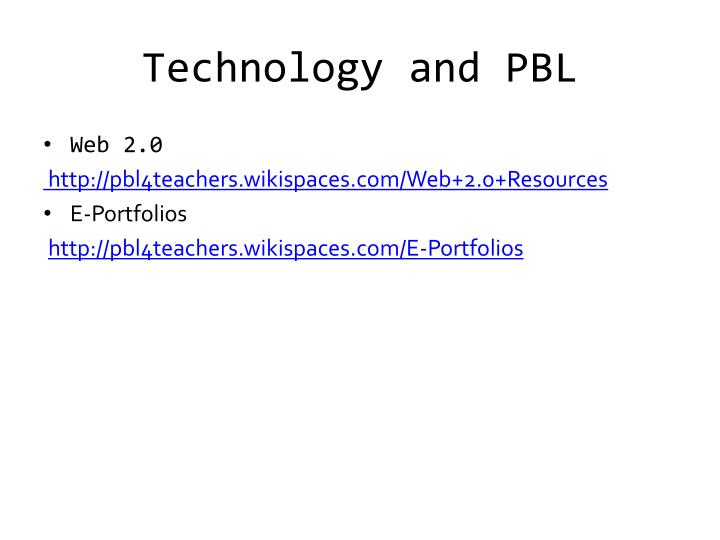 Technology and PBL