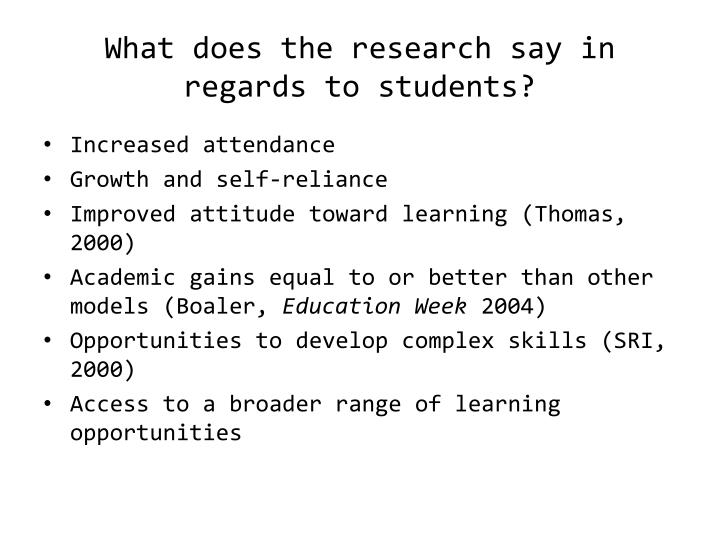 What does the research say in regards to students?
