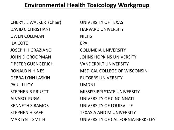 Environmental Health Toxicology Workgroup