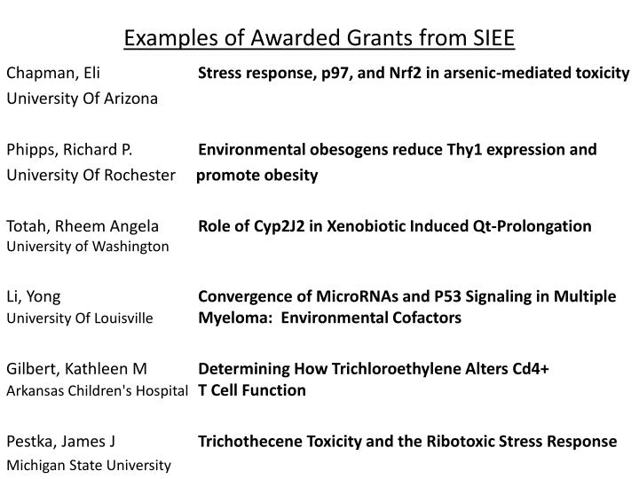 Examples of Awarded Grants from SIEE