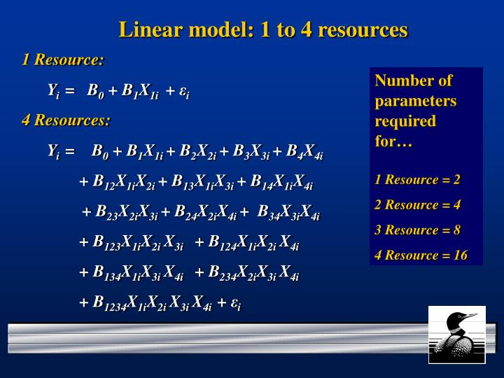 Linear model: 1 to 4 resources