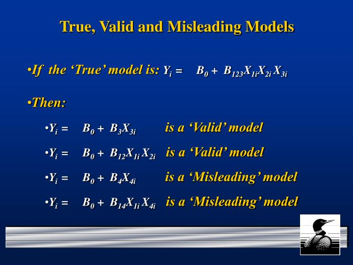 True, Valid and Misleading Models