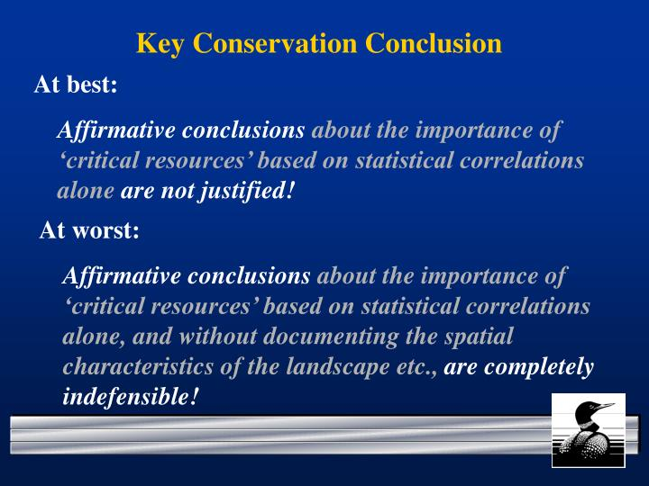 Key Conservation Conclusion