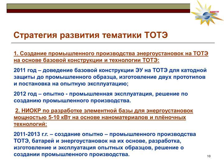 Стратегия развития тематики ТОТЭ