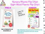 nursery rhyme flip chart sight word poems flip chart
