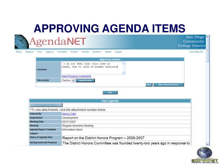 APPROVING AGENDA ITEMS
