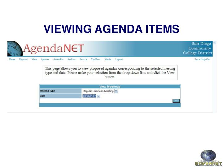 VIEWING AGENDA ITEMS