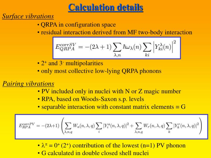 Calculation details