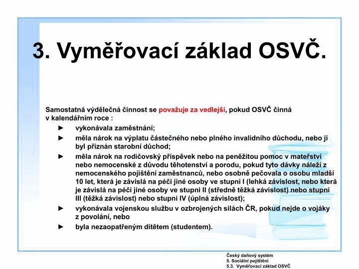 3. Vyměřovací základ OSVČ.