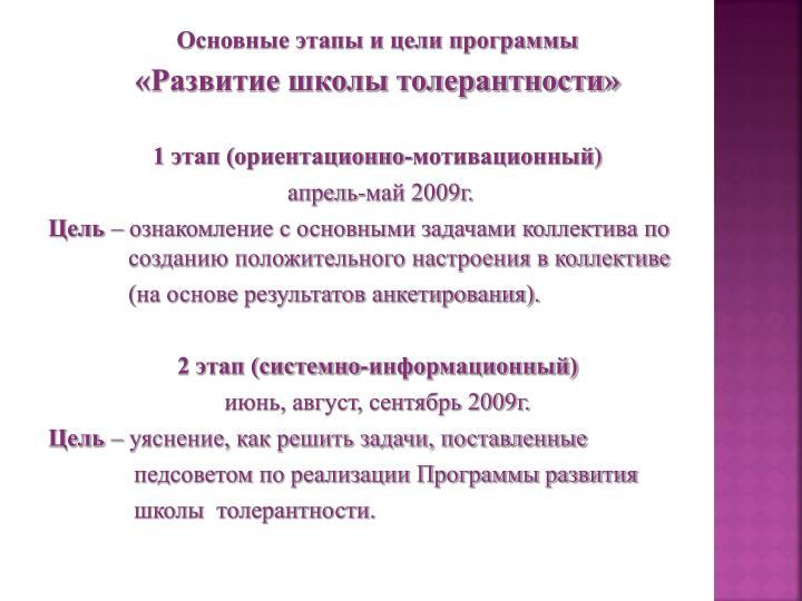 Основные этапы и цели программы