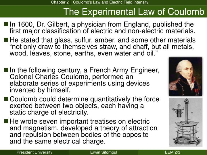The experimental law of coulomb