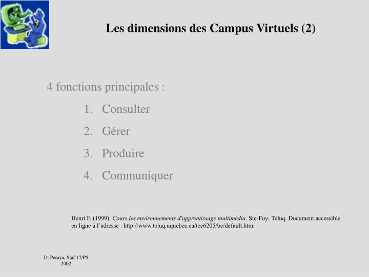 Les dimensions des Campus Virtuels (2)