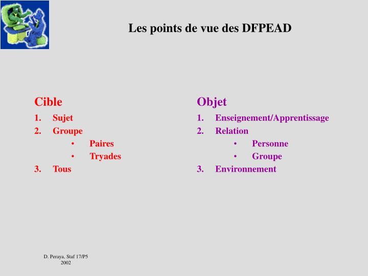 Les points de vue des DFPEAD