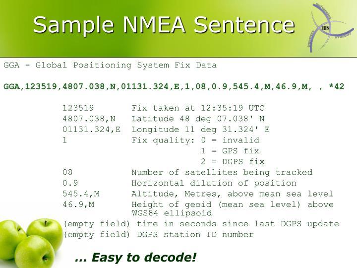 Sample NMEA Sentence
