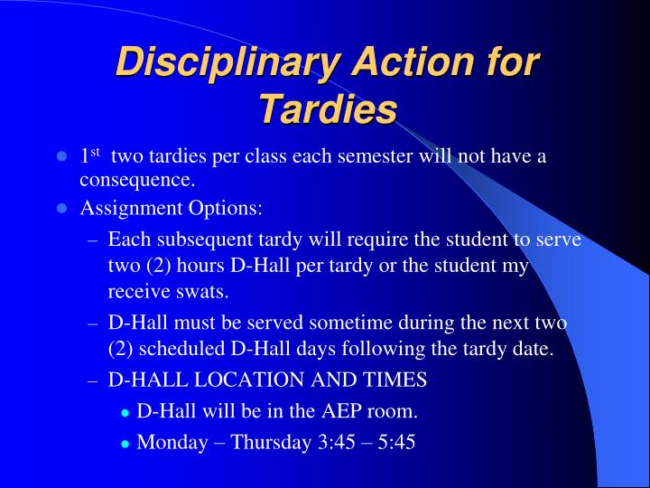 Disciplinary Action for Tardies