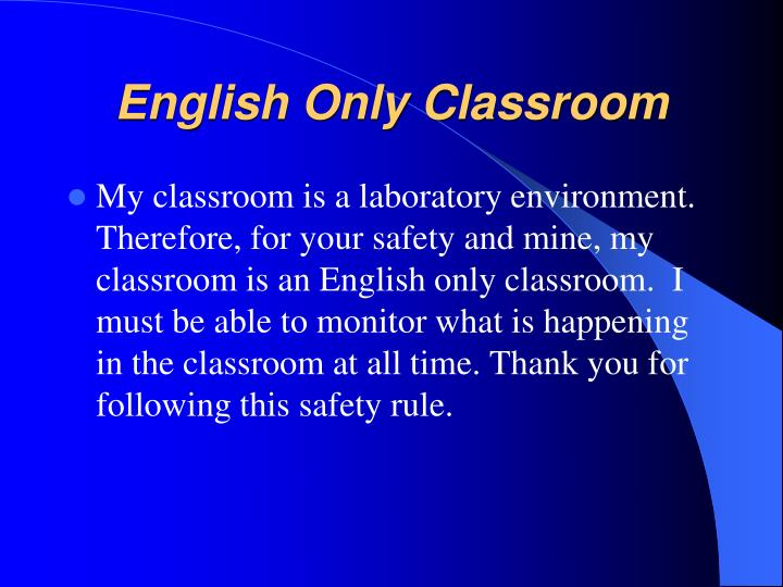 English Only Classroom