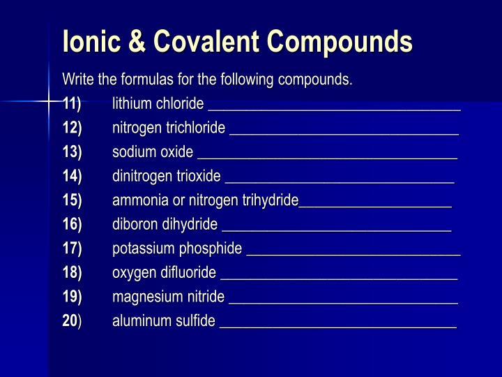 Ionic & Covalent Compounds