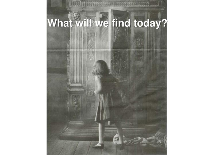 What will we find today?