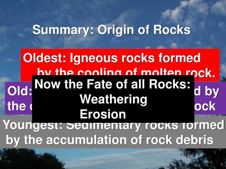 Summary: Origin of Rocks