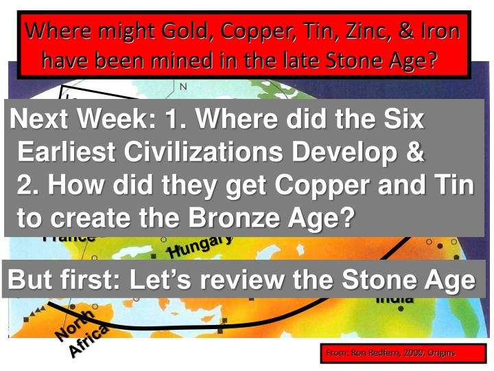 Where might Gold, Copper, Tin, Zinc, & Iron