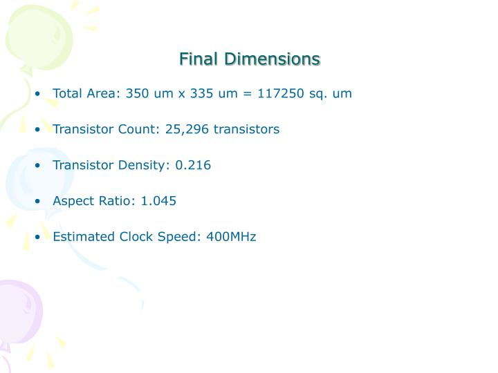 Final Dimensions