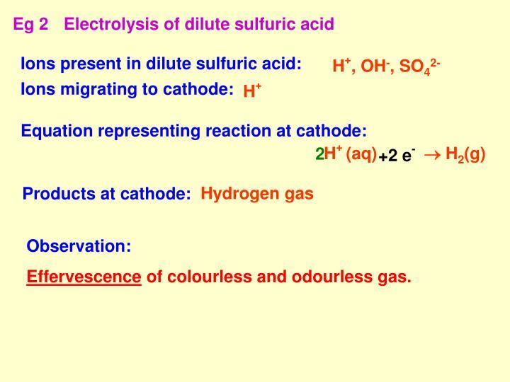 Eg 2Electrolysis of dilute sulfuric acid