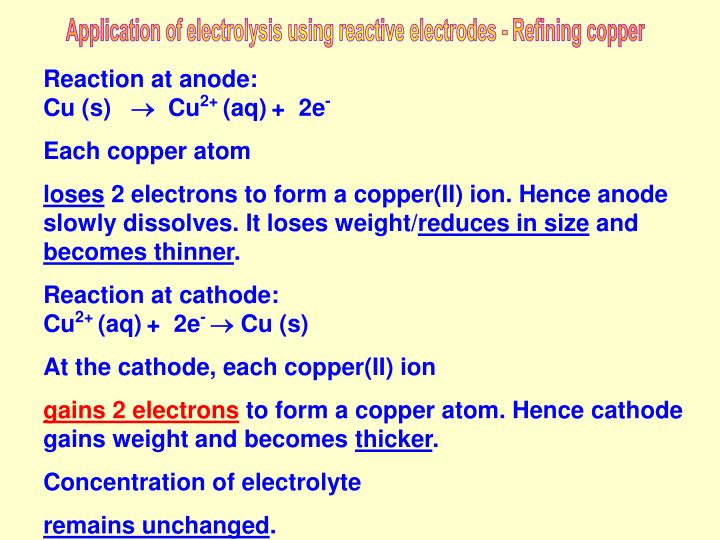 Application of electrolysis using reactive electrodes - Refining copper