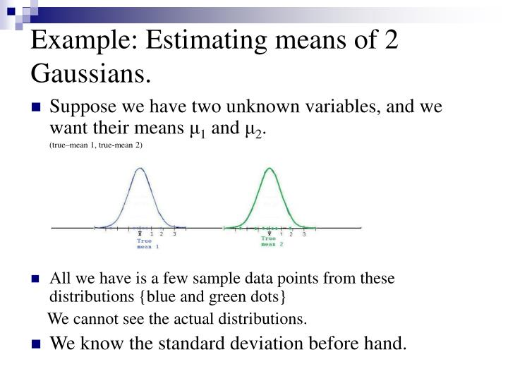 Example: Estimating means of 2 Gaussians.