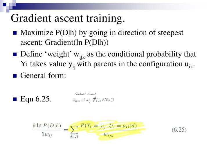 Gradient ascent training.