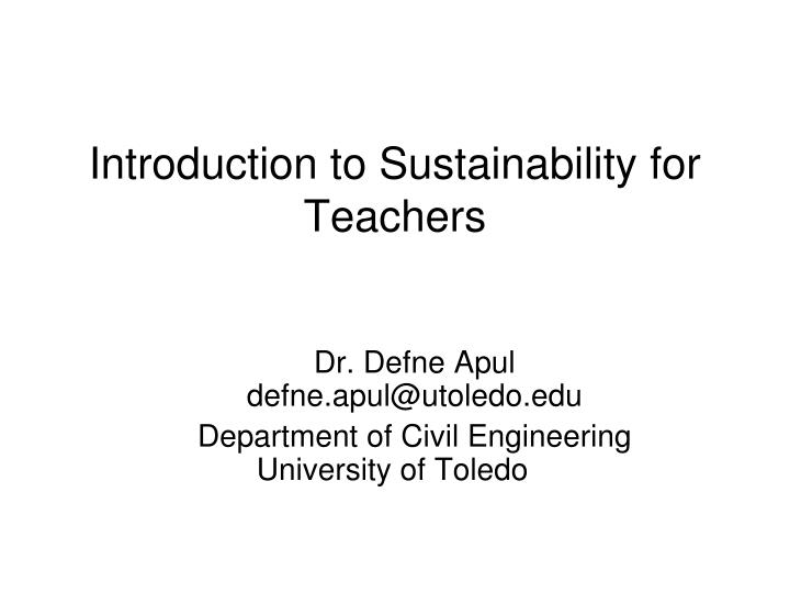 Introduction to sustainability for teachers