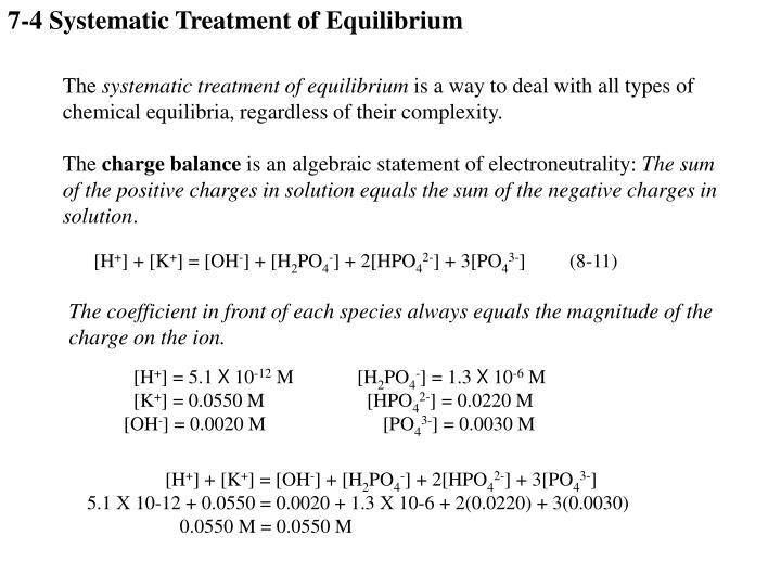 7-4 Systematic Treatment of Equilibrium
