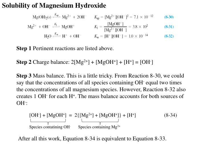 Solubility of Magnesium Hydroxide