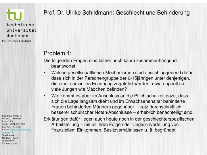 Prof. Dr. Ulrike Schildmann: Geschlecht und Behinderung