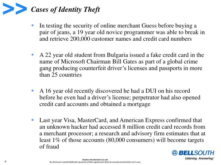 Cases of Identity Theft