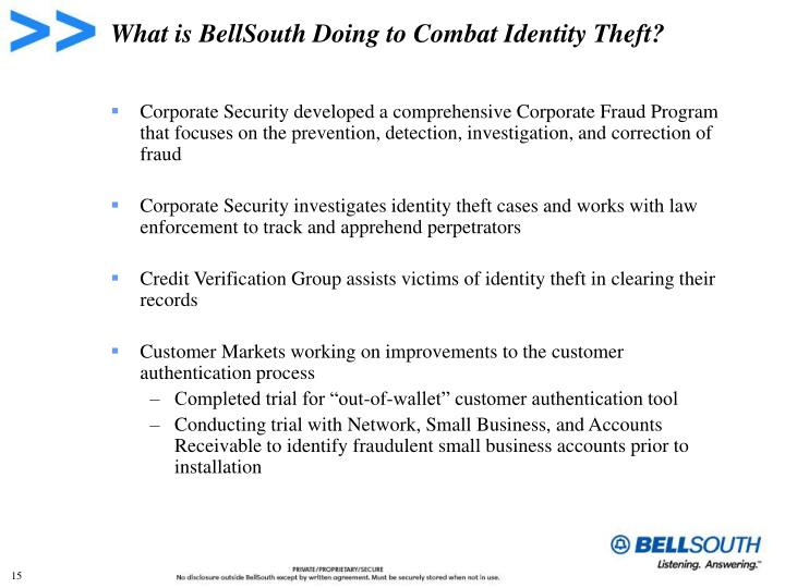 What is BellSouth Doing to Combat Identity Theft?