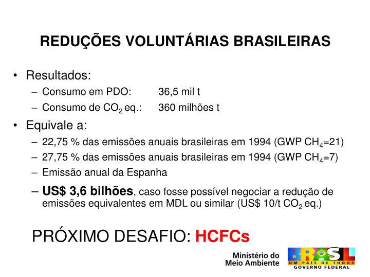 REDUÇÕES VOLUNTÁRIAS BRASILEIRAS