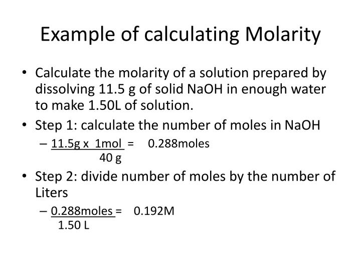 Example of calculating Molarity