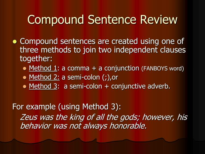 Compound Sentence Review