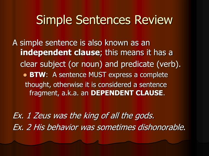 Simple Sentences Review