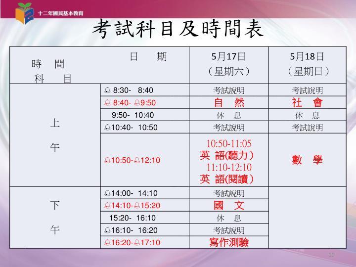 考試科目及時間表