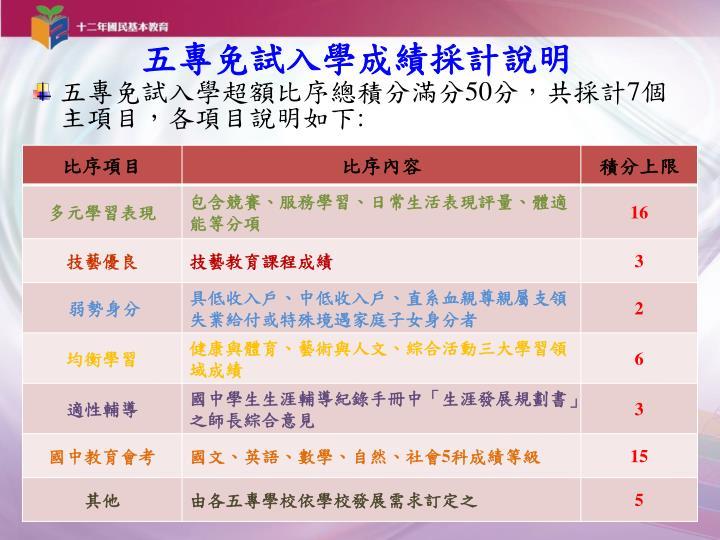 五專免試入學成績採計說明