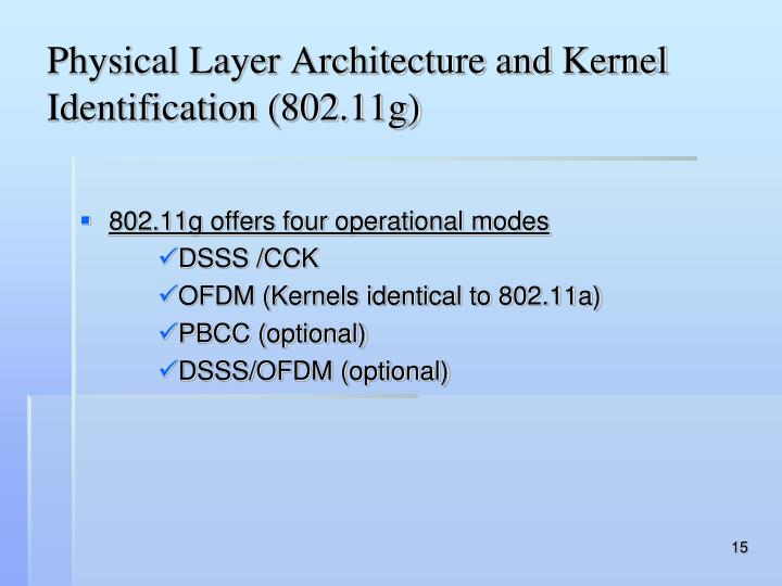 Physical Layer Architecture and Kernel Identification (802.11g)