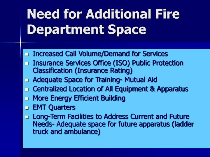 Need for Additional Fire Department Space