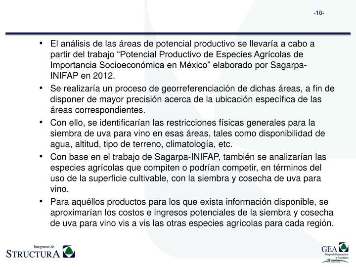 """El análisis de las áreas de potencial productivo se llevaría a cabo a partir del trabajo """"Potencial Productivo de Especies Agrícolas de Importancia Socioeconómica en México"""" elaborado por"""