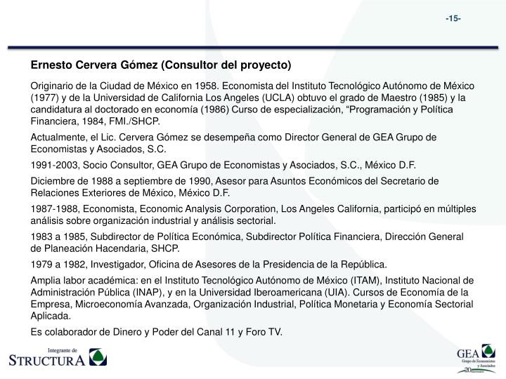 Ernesto Cervera Gómez (Consultor del proyecto)